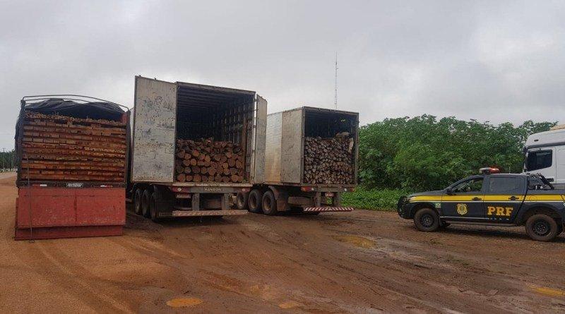 PRF flagra intenso transporte ilegal de madeira durante a madrugada