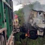 Carreta pega fogo e motorista morre na BR-316, em cima da ponte do posto fiscal do Km 17, município de Codó