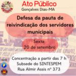 SINTESPEM fará ato regional público em Gonçalves Dias nesta sexta 20/09