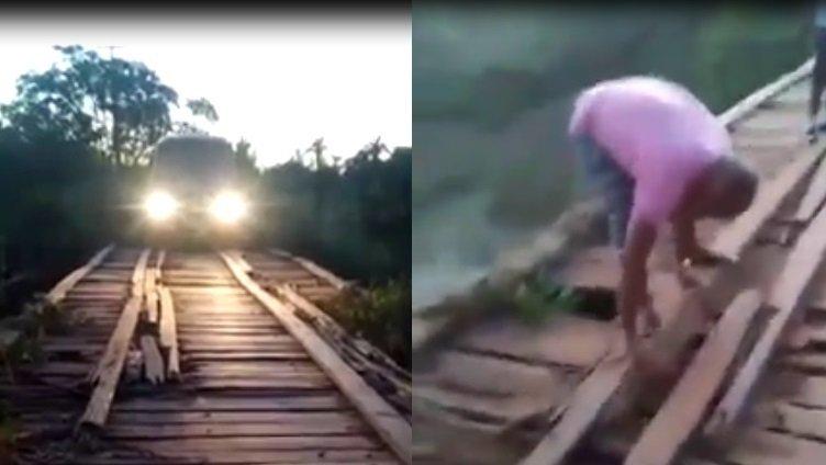 """""""Governador Eugênio Barros""""  Bomba, Bomba perigo a Ponte que liga o povoado Santiago ao povoado Tamboril por pouco não cai com os alunos"""