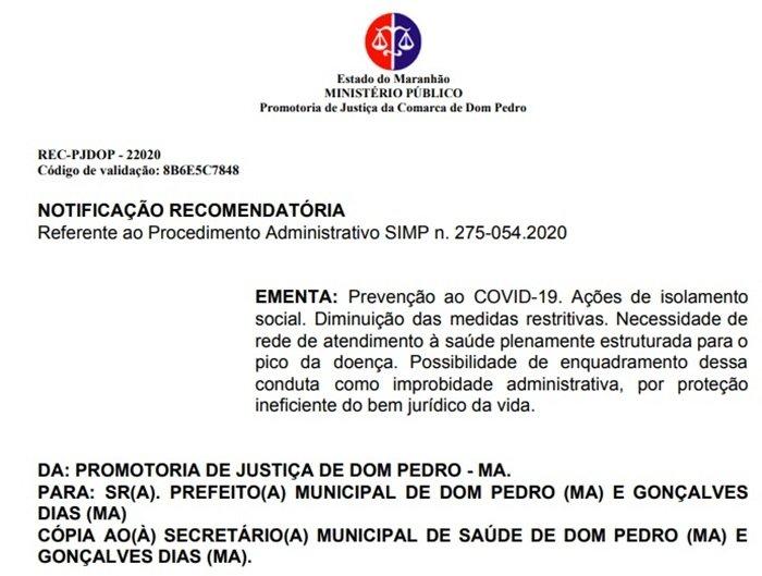 Nota de utilidade pública, Prefeitura Municipal de Gonçalves Dias