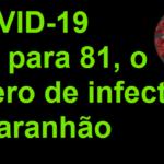 Covid-19, sobe para 81 o número de infectados no Maranhão