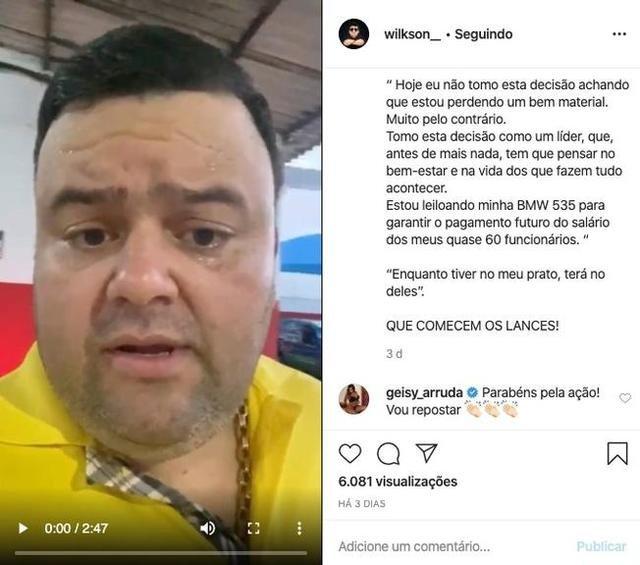 """"""" EFEITO DO CORONAVÍRUS"""" empresário leiloa carro de luxo para pagar funcionários após paralisação por quarentena"""