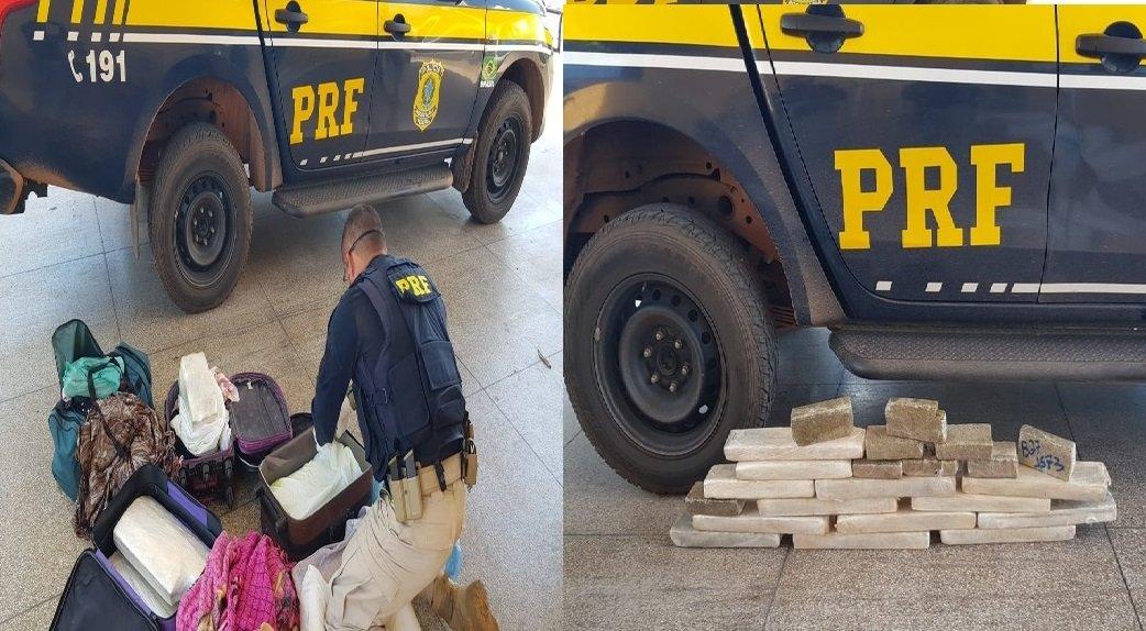 Passageira de ônibus é presa transportando 24 quilos de maconha
