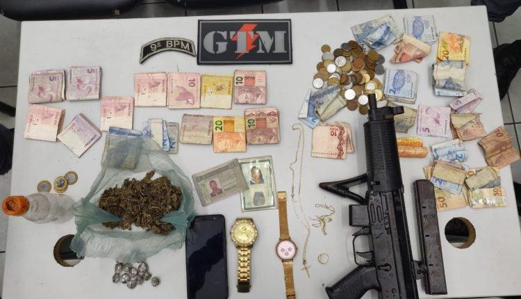 POLÍCIA MILITAR APREENDE METRALHADORA E DROGAS EM SÃO LUIS