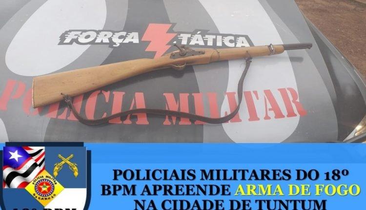 POLICIAIS MILITARES DO 18º BPM APREENDE ARMA DE FOGO NA CIDADE DE TUNTUM