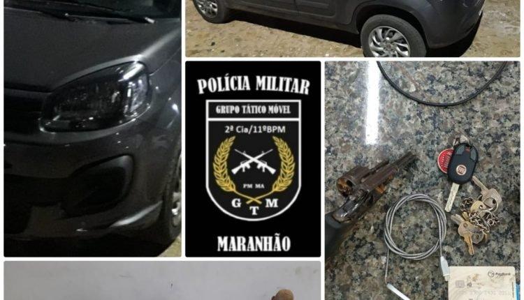 HOMENS SÃO PRESOS COM ARMA DE FOGO E CARRO ROUBADO EM TIMON